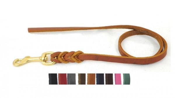 Bellepet - Fettlederleine 1,50m ohne Handschlaufe - Messing