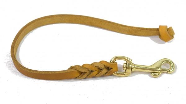 Bellepet - Kurzführer aus Fettleder 30cm ohne HS mit Knoten - Messing