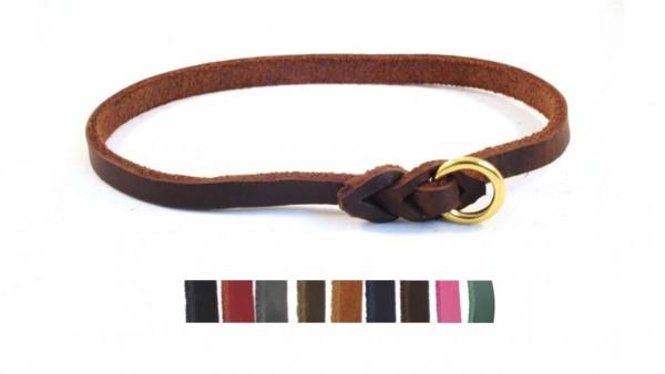 Bellepet - leichtes Halsband aus Fettleder für kleine Hunde - Messing