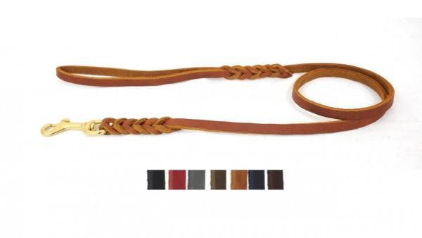 Bellepet - Fettlederleine 10m mit Handschlaufe - Messing