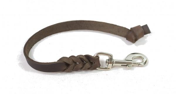 Bellepet - Kurzführer aus Fettleder 30cm ohne HS mit Knoten - Edelstahl