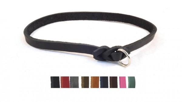Bellepet - leichtes Halsband aus Fettleder für kleine Hunde - Chrom