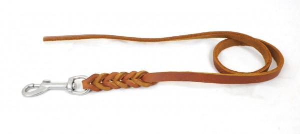 Bellepet - Fettlederleine 2,20m ohne Handschlaufe - Chrom