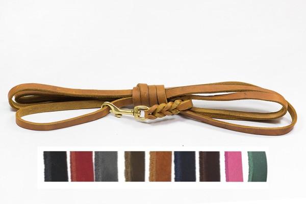 Bellepet - Fettlederleine 5m mit Handschlaufe - Messing