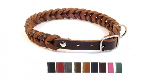 """Bellepet Fettleder Halsband """"Braidy"""" mit Schnalle Chrom"""